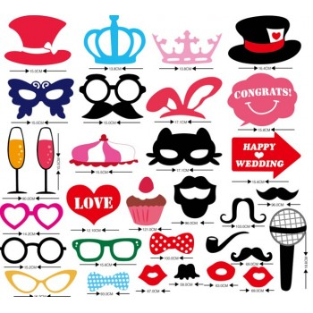 Wedding Decorations Photo Booth Props Moustache Hat Glasses Lips Photography Photo Props