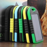 Waterproof 5000mAh Dual-USB Solar Power Bank Battery Charger for All Phones