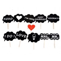 11pcs/set Photobooth Photo Booth Props Mr Mrs Love DIY Photography On A Stick Wedding Decoration Party Fun Favor