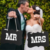 Bride & Groom MR & MRS Vintage Wedding Signs