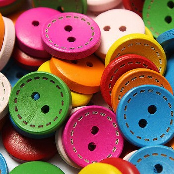 Large Coloured Wooden Buttons