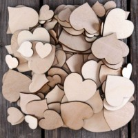 100 Large Wooden Plain Heart Craft Shape 3mm Plywood 2-4cm Size