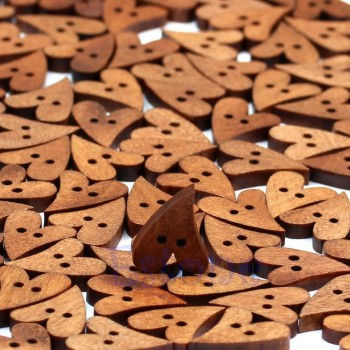Brown Wooden Sewing Heart Shape Craft Button