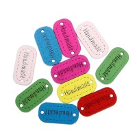 'Handmade' 2 Hole Wood Button Labels Tags