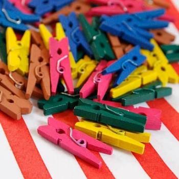Mini Wooden Pegs - Multi Coloured
