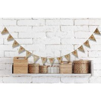Nature Burlap Hessian Merry Christmas Flag Bunting