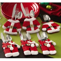 Happy Santa Claus Tableware Silverware Suit Christmas Dinner Party Decor