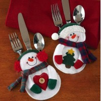 Snowman Christmas Silverware Holders