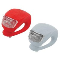 2 LED SILICONE MOUNTAIN BIKE BICYCLE FRONT REAR LIGHTS