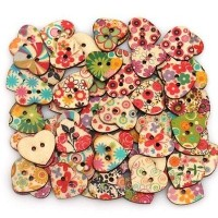 Heart Shaped Buttons 50pcs