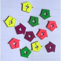 Brightly Coloured Wooden House Shaped Buttons