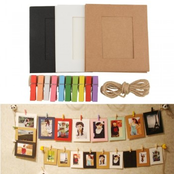 Hanging Album Frame Gallery With Hemp Rope Clips