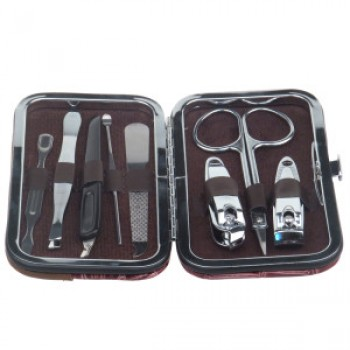 8pcs Manicure Set Professional Nail Kit In Leather Wallet Pouch